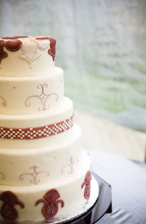 Gingham fondant design on buttercream wedding cake. Durham, NC