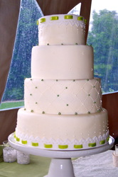 Fondant stitching and embroidery border on wedding cake. Pitsboro, NC