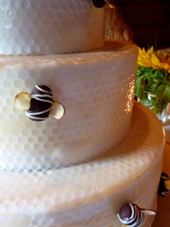 The bee cake! Chocolate bees buzzing on a beehive fondant wedding cake. Carboro, NC