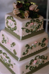 Intricate fondant appliques for a romantic wedding cake. Hillsborough, NC