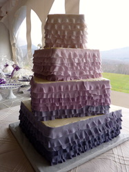Ombre ruffled fondant wedding cake. Fields and mountains, VT